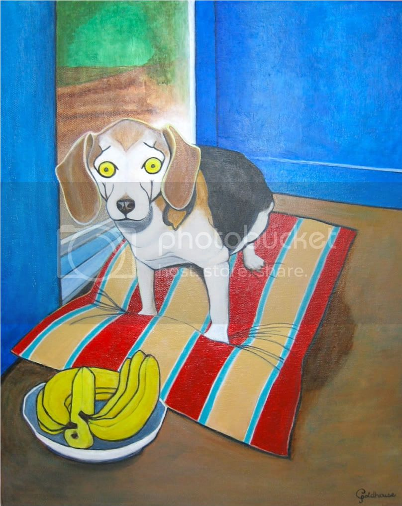 dog portrait of Beagle on pillow near bowl of bananas in colorful Matisse style